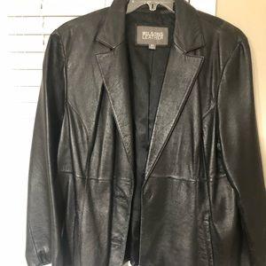 Black genuine plus size leather blazer
